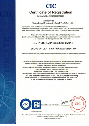 ISO14001 CERTIFICATION FPR ARTIFICIAL GRASS